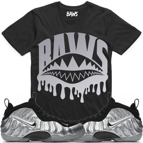 74a0c3687151 ... BAWS SHARK DRIP Sneaker Tees Shirt - Silver Surfer Foamposites ...