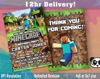 Mine Craft Themed Birthday Invitation Minecraft Invitations