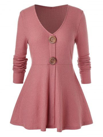 Plus Size Buttoned A Line High Waisted Sweater