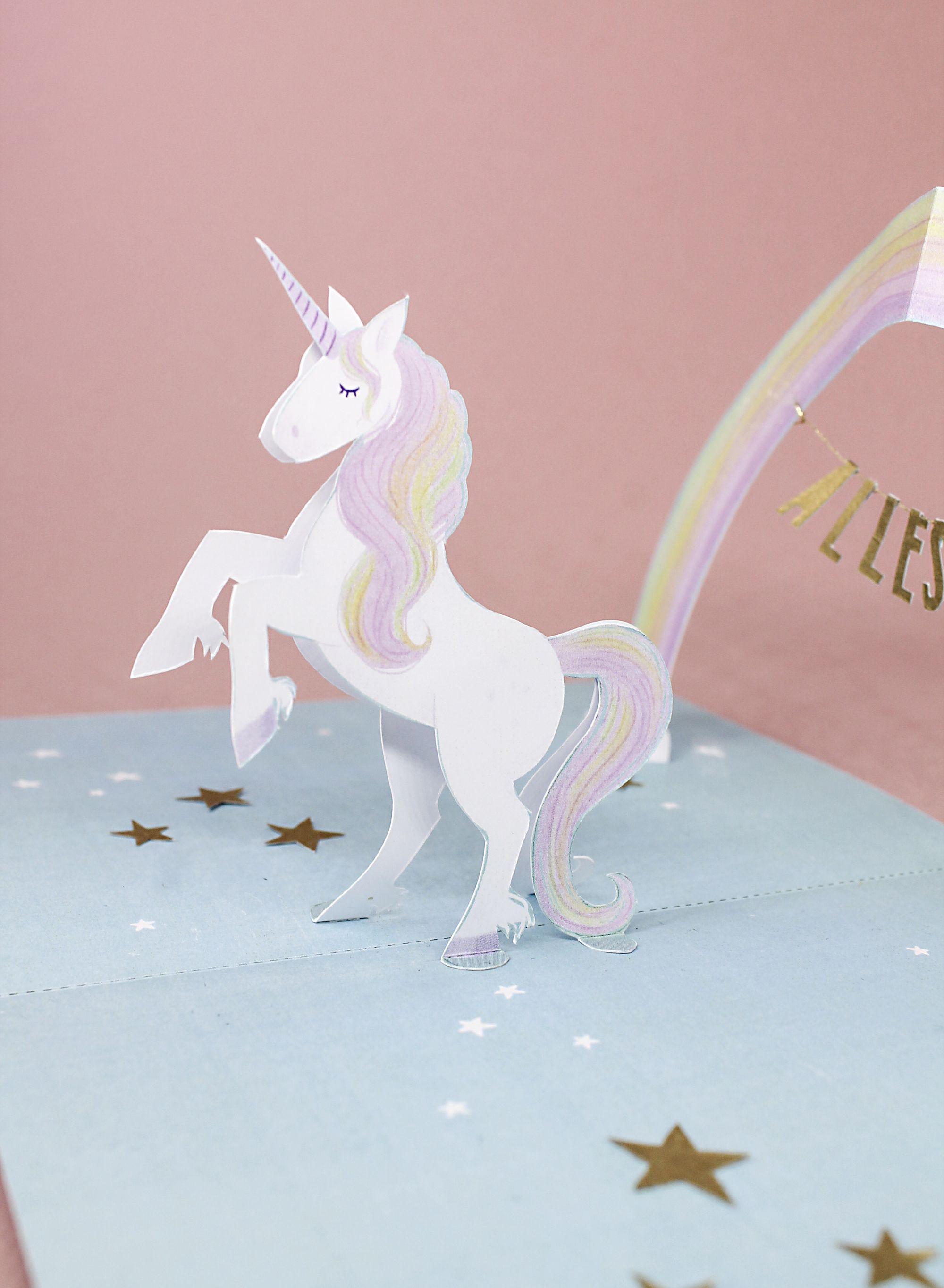 Unicorn Pop Up Birthday Card With Golden Details Handmade Reagan