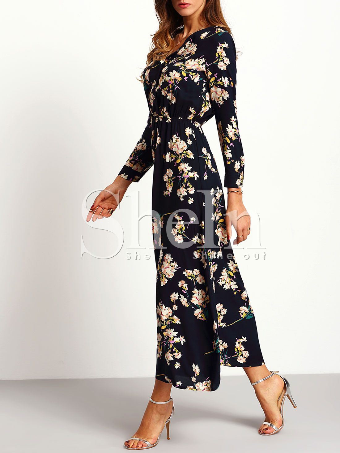 58f9f2a289 Shop Navy Long Sleeve Floral Maxi Dress online. SheIn offers Navy Long  Sleeve Floral Maxi Dress & more to fit your fashionable needs.