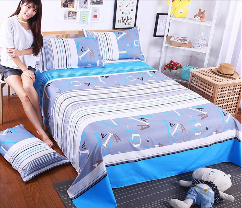 Double student dormitory bed sheet 1.8 meters of pure color quilt ...