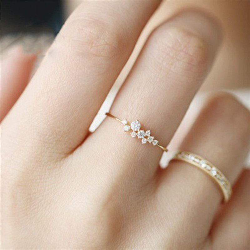 Boako simple cubic zirconia small stone thin ring gold