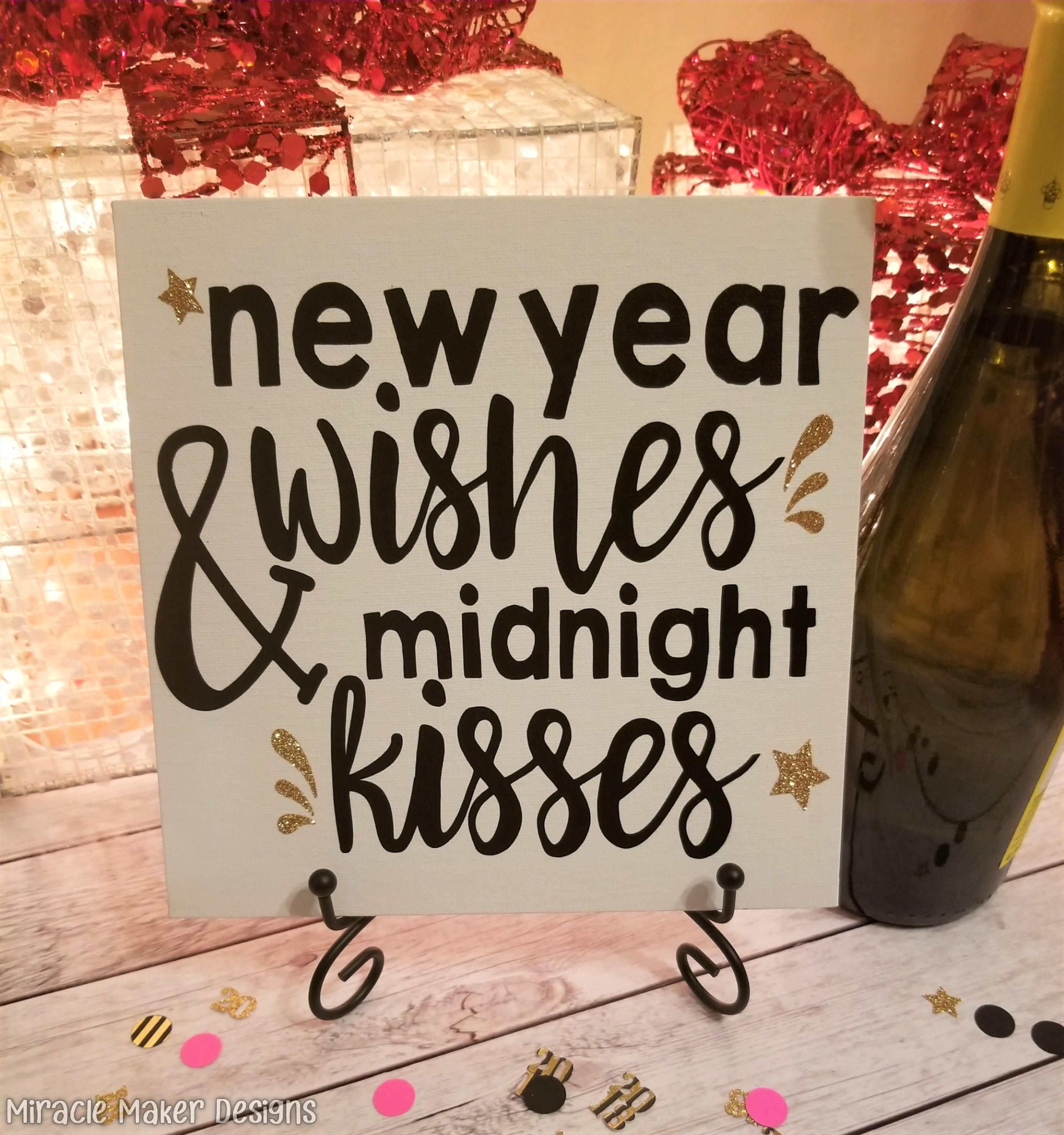New Years Eve Canvas Sign, New Year Wishes and Midnight ...