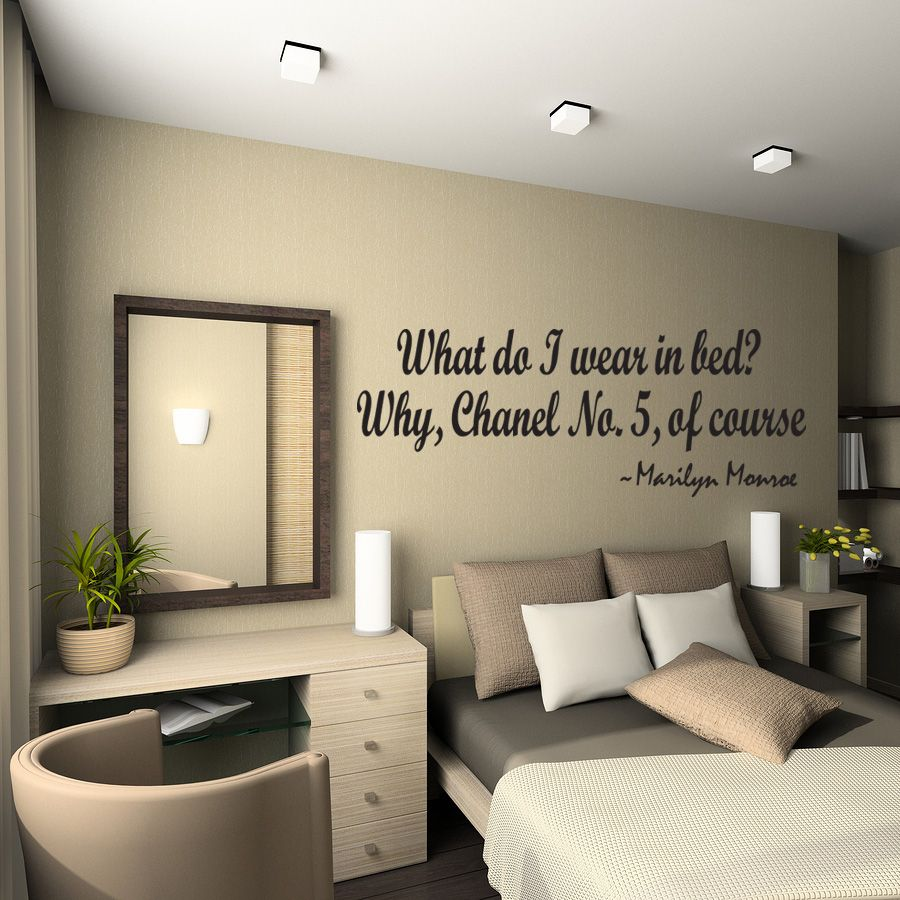 WHAT DO I WEAR IN BED? Wall Quote Decal Marilyn Monroe