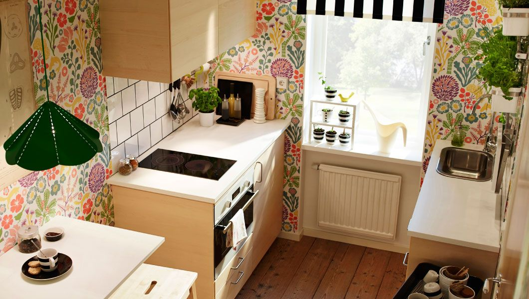 Moderne METOD Küche mit HAGANÄS Fronten in Birkenfurnier und weißen - ikea kleine küchen