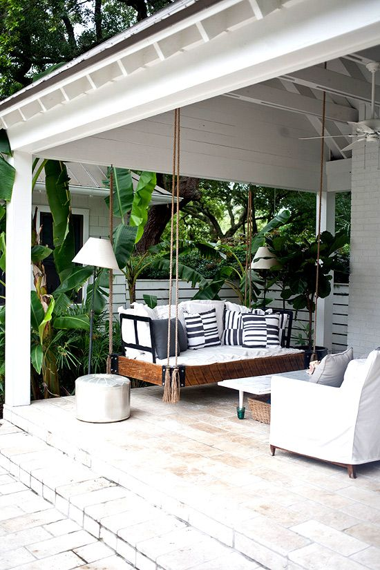 Wood mixed with white and tassels! porch and yard Pinterest