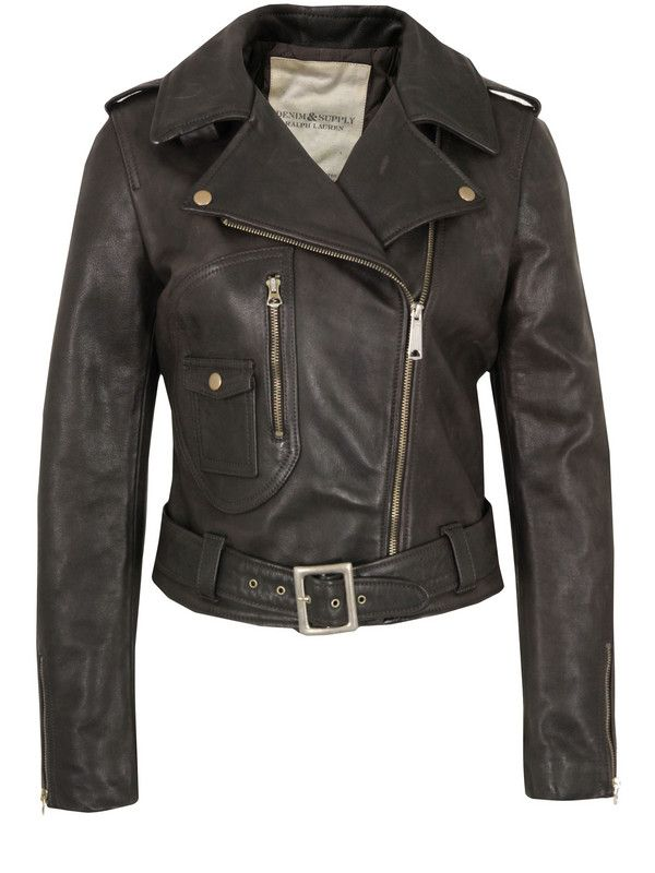f4339de9b4 Denim  amp  Supply Ralph Lauren – womens dark brown leather jacket with a  notched lapel