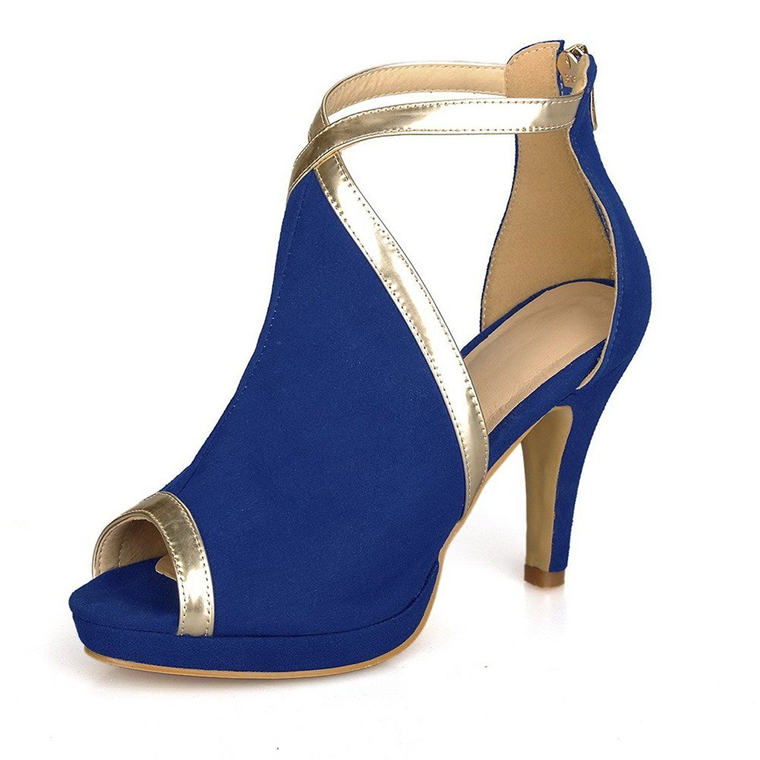 AmoonyFashion Women's Peep Toe Kitten Heel Suede Frosted Assorted Colors Sandals * More info could be found at the image url.