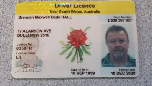 Front of drivers licence | Space | Wales, Number 2, South wales