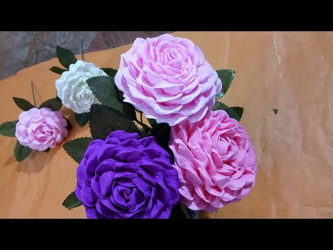 Super Easy Way To Make Purple Rose Paper Flower Diy Rose Crepe Paper Flower Making Tutorials Youtube Paper Flower Video Paper Flowers Paper Flowers Craft
