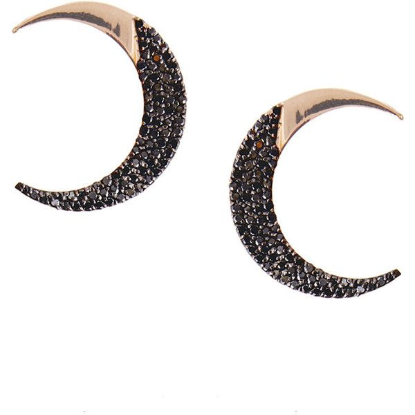 Lana Reckless Rose Crescent Stud Earrings with Black Diamonds