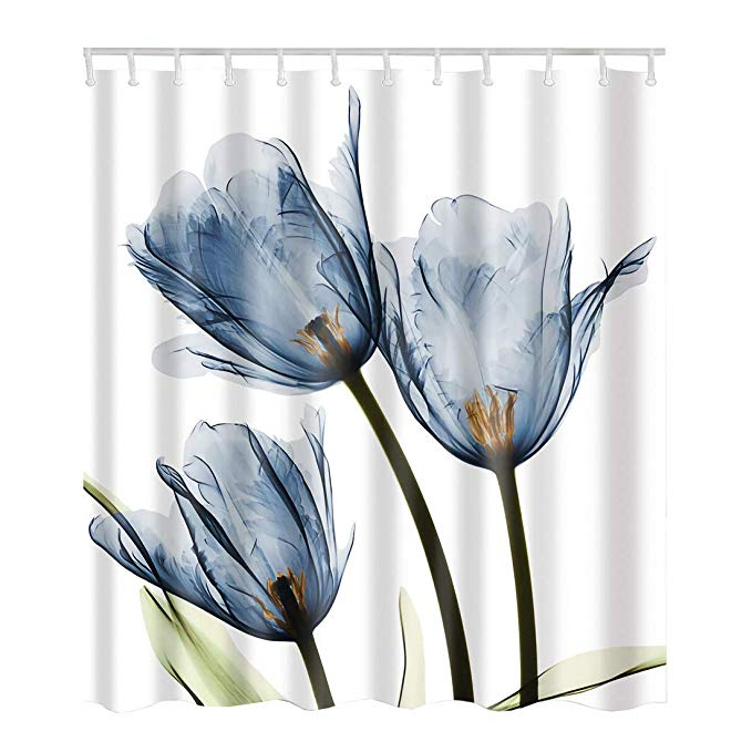 Amazon Com Artown Blue Tulip Flower Shower Curtain Elegant