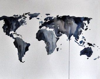 Original abstract world map painting large watercolor painting in original abstract world map painting large watercolor painting in neutral grey art for men gumiabroncs Images