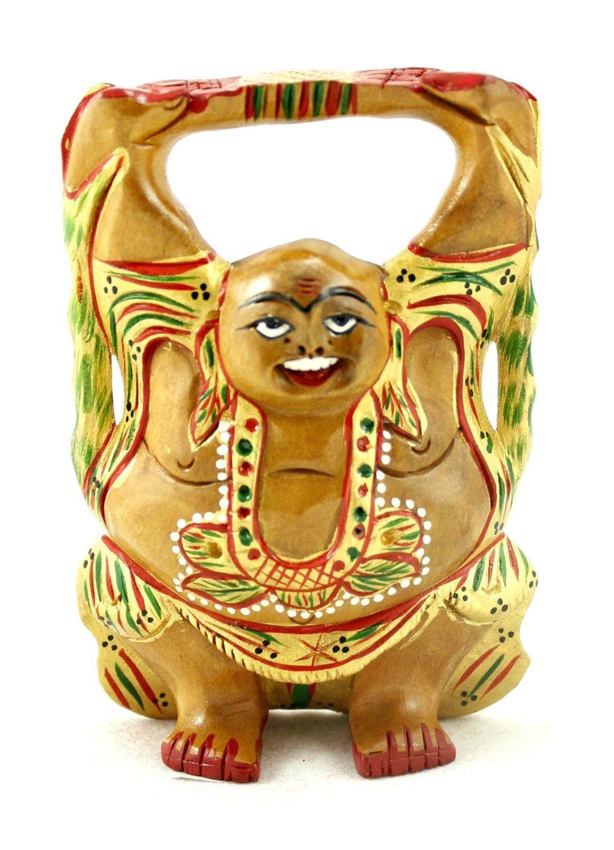 SKU NO:Laughing buddha_226) Hand Carved Wood Painted Laughing Buddha ...