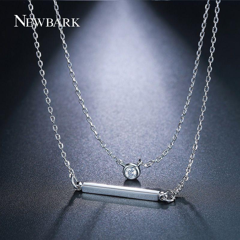 6c02238acdc Simple Double Layers CZ Square Bar Pendant Choker Necklace Women Bijoux  Fashion Elegant Geometric Long Chain