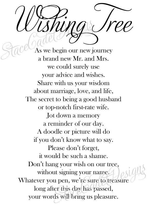 Custom Printable Wedding Wishing Tree Sign By StaceCadetDesigns 1000