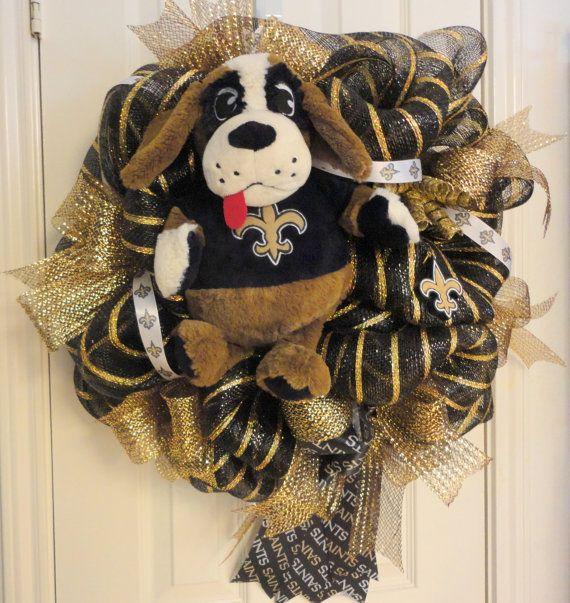 Gorgeous Who Dat New Orleans Saints Deco Mesh Wreath by RamonaReindeer, $60.00