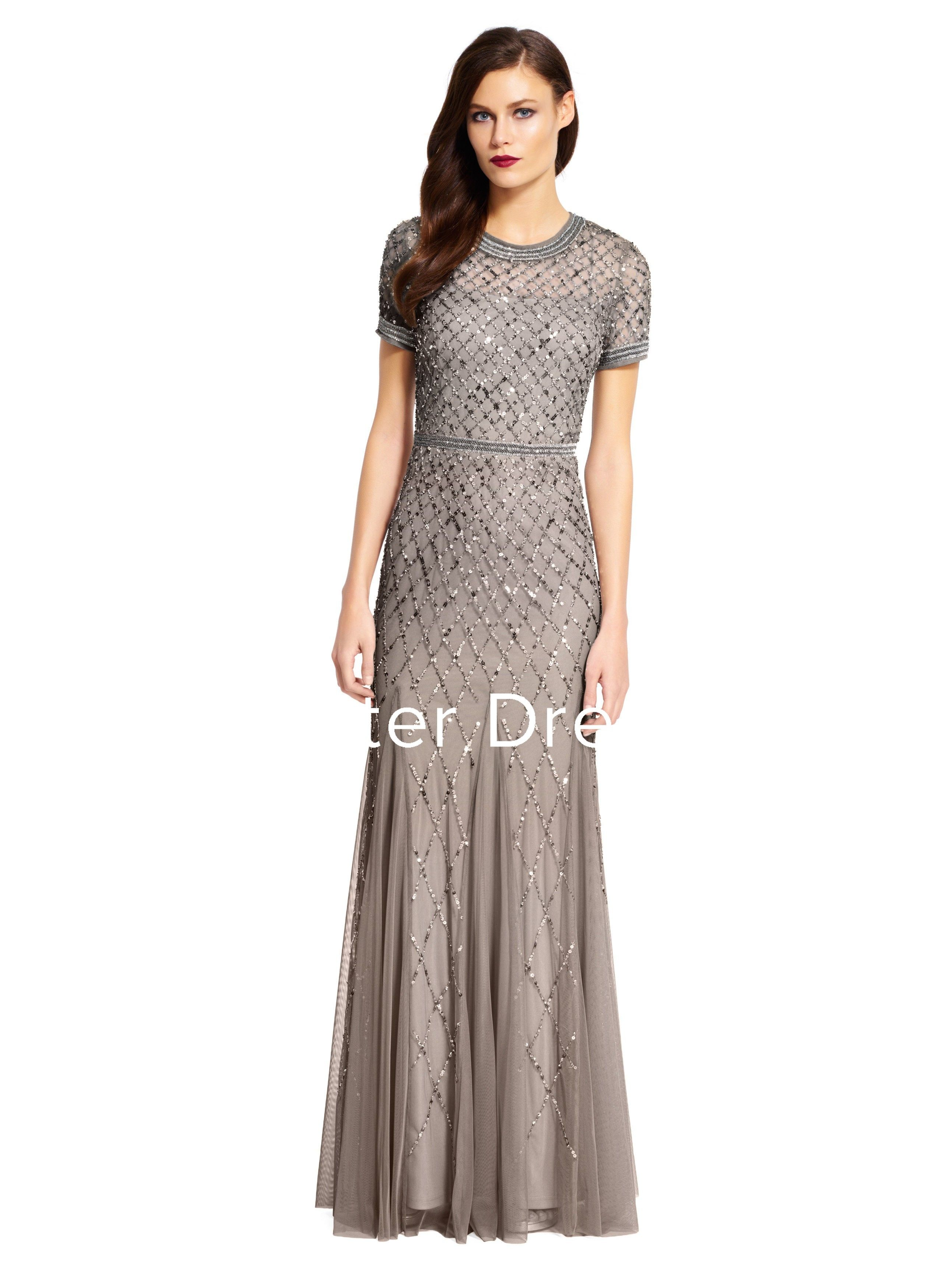 Sheath scoopneck shortsleeve floorlength sequinsutulle bridesmaid