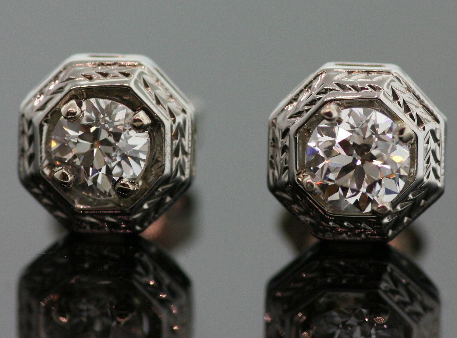 Antique Diamond Stud Earrings 14k White Gold By Sitfinejewelry