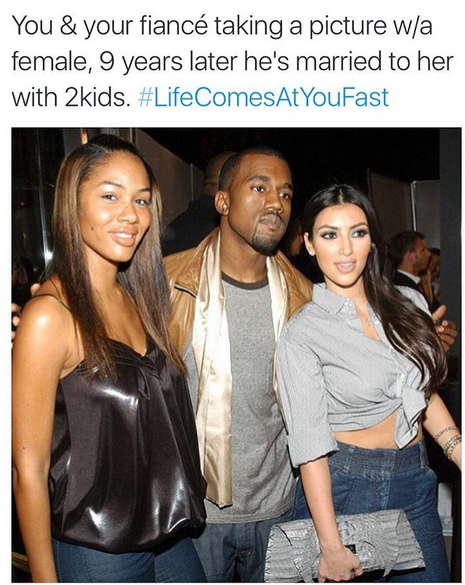 Life See This Throwback Pic Of Kimkanye And His Ex Fiancee Alexis Funny Love Memes Funny Gif