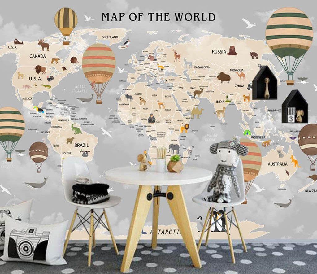 World Map Wallpaper for Kids Vintage Balloons Wall Mural Hot Air Balloon Wall Print World Maps Wall Print Kindergarten #worldmapmural