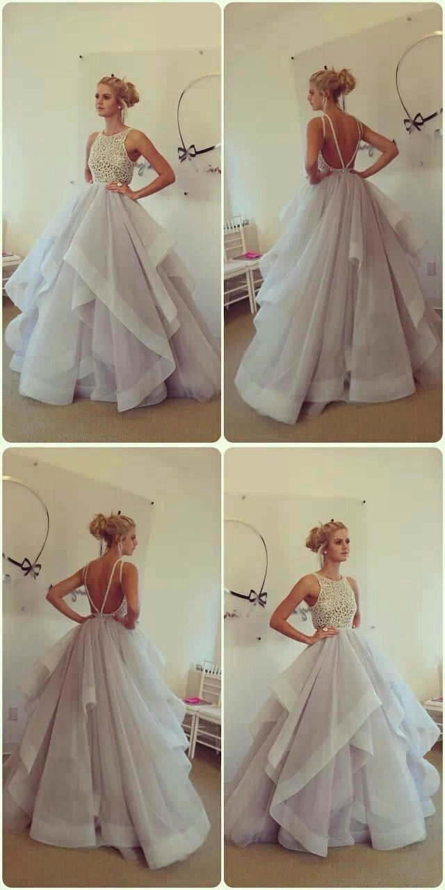 Backless prom dresses glamorous ball gown lace puffy tulle long