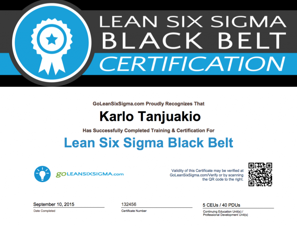 Goleansixsigma Black Belt Certificate Example Black Belt