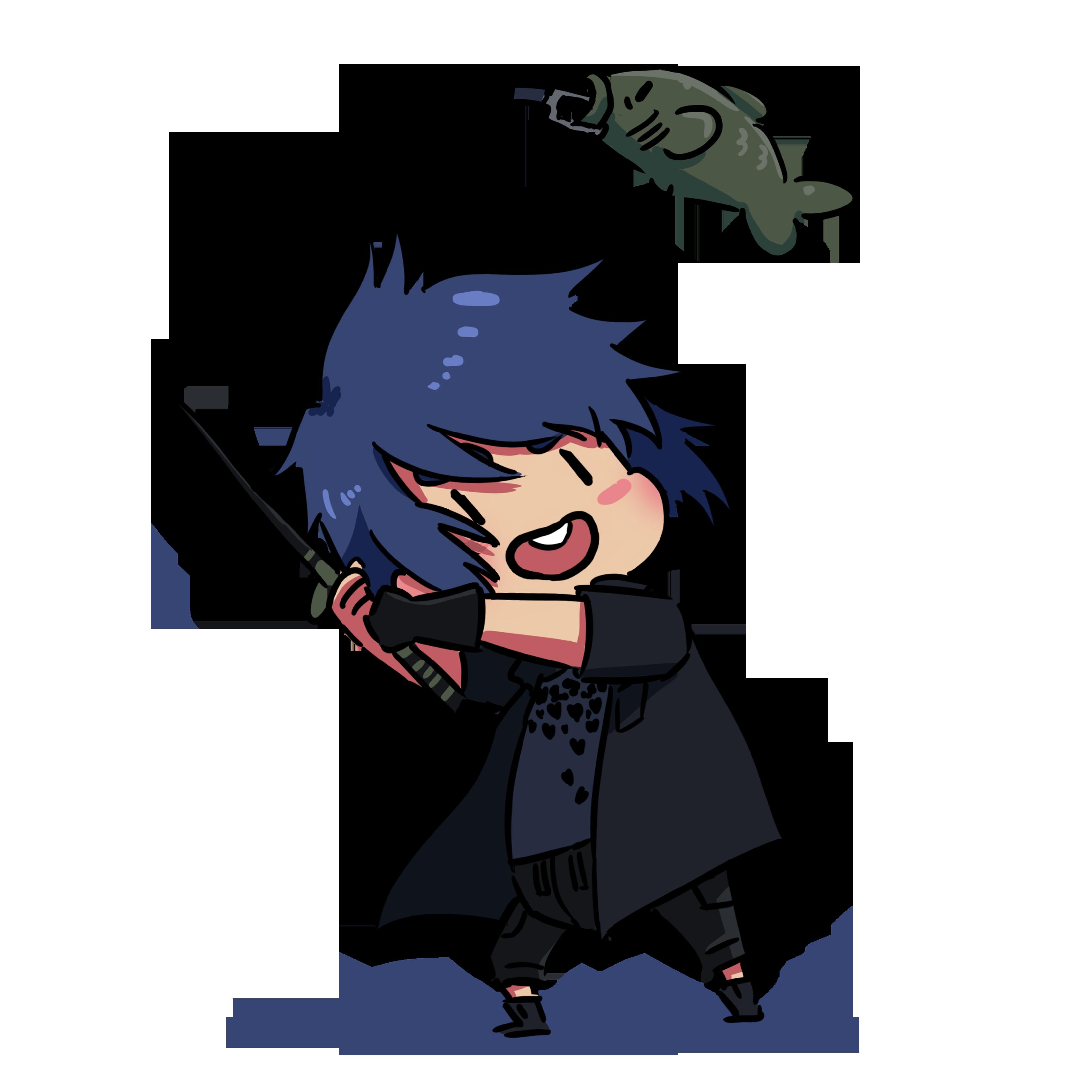 Chibi noctis fishing final fantasy xv fan art for Final fantasy 15 fishing