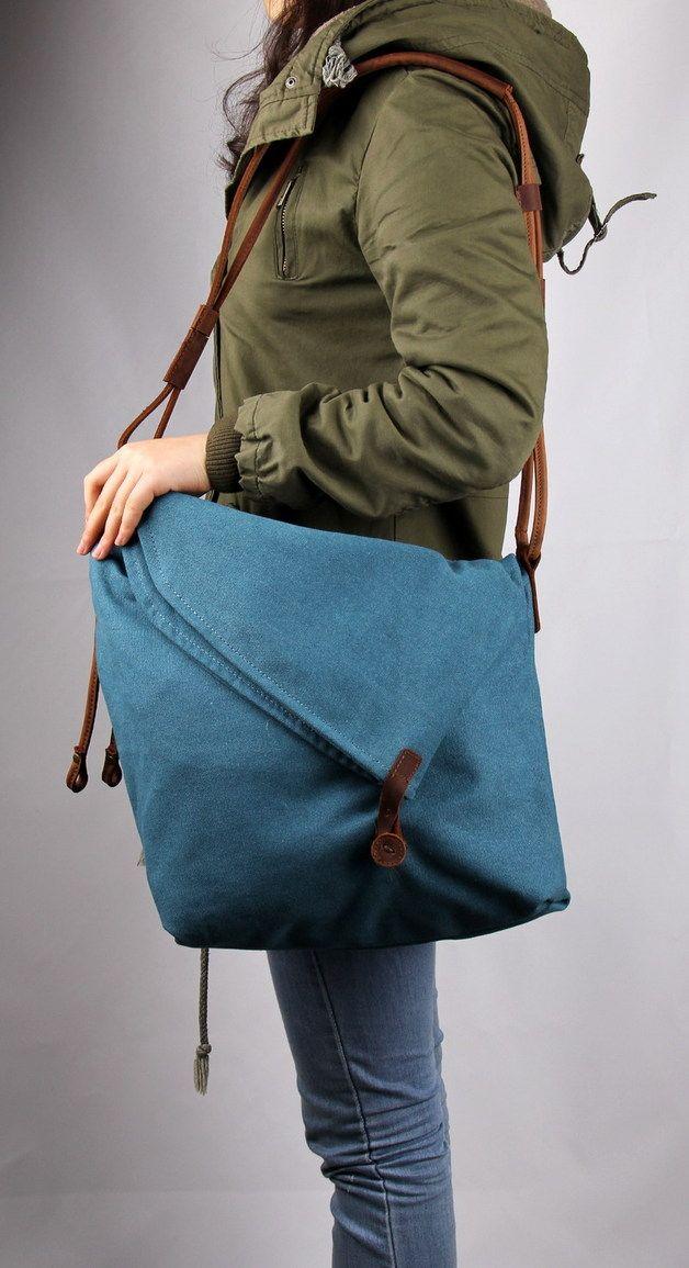 34b27ce1b5 Canvas Bags – Canvas shoulder bag cowhide  TRIAN  – a unique product by  Carol-ina on DaWanda