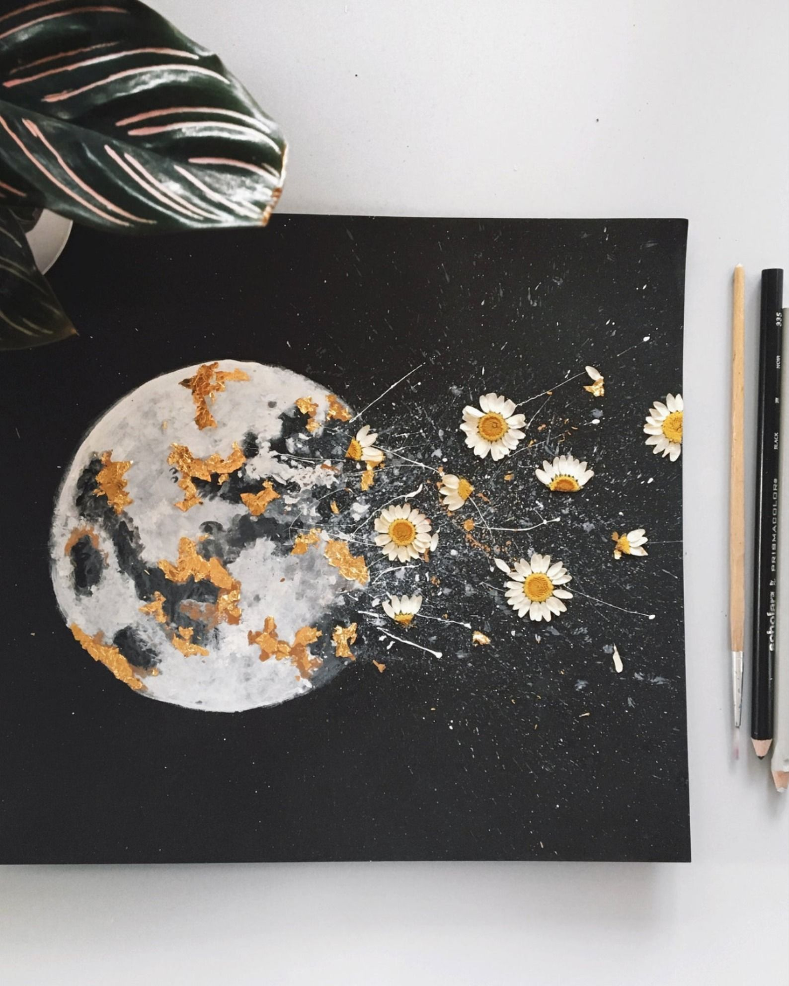 Dark Night Outburst Moon Watercolor W Gold Leaf And Dried Flowers Pressed Flower Art Watercolor Moon Flower Art Painting