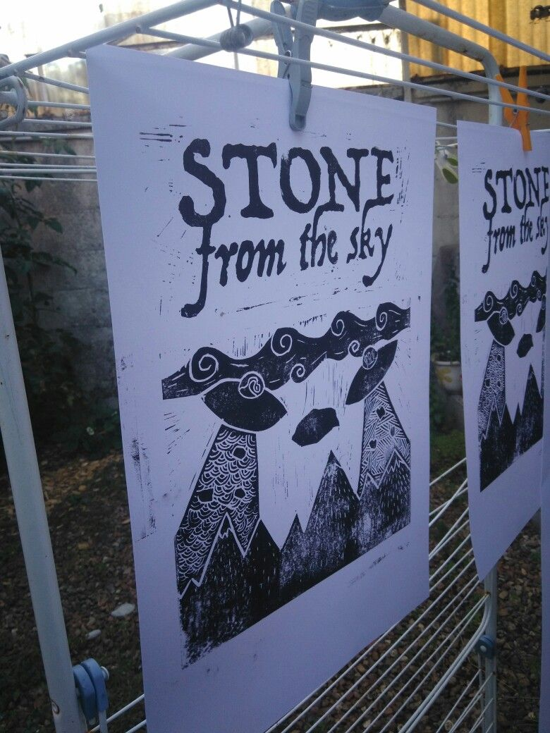 "Poster for the french band ""Stone from the Sky "" Of Le Mans. Draw, linogravure and hand printed by Cédric la touffe"