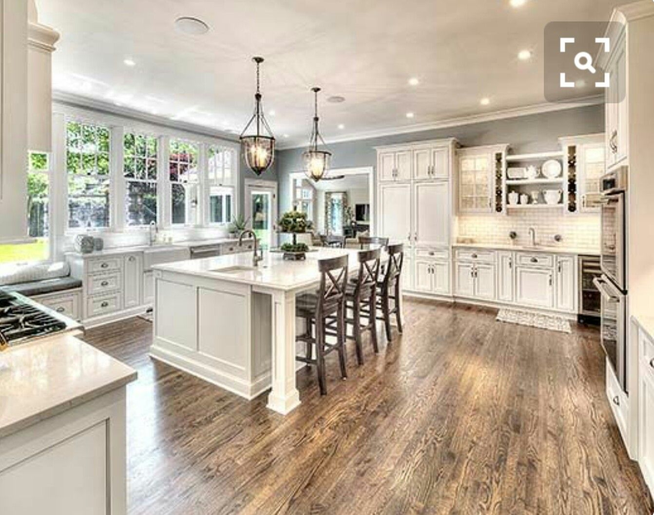 Farmhouse Kitchen Tile Floors White Cabinets With Creamy Beige Granite Countertops Dove