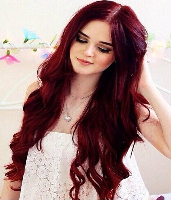 Bright red long hair with bangs | Best red hair dye, Dyed