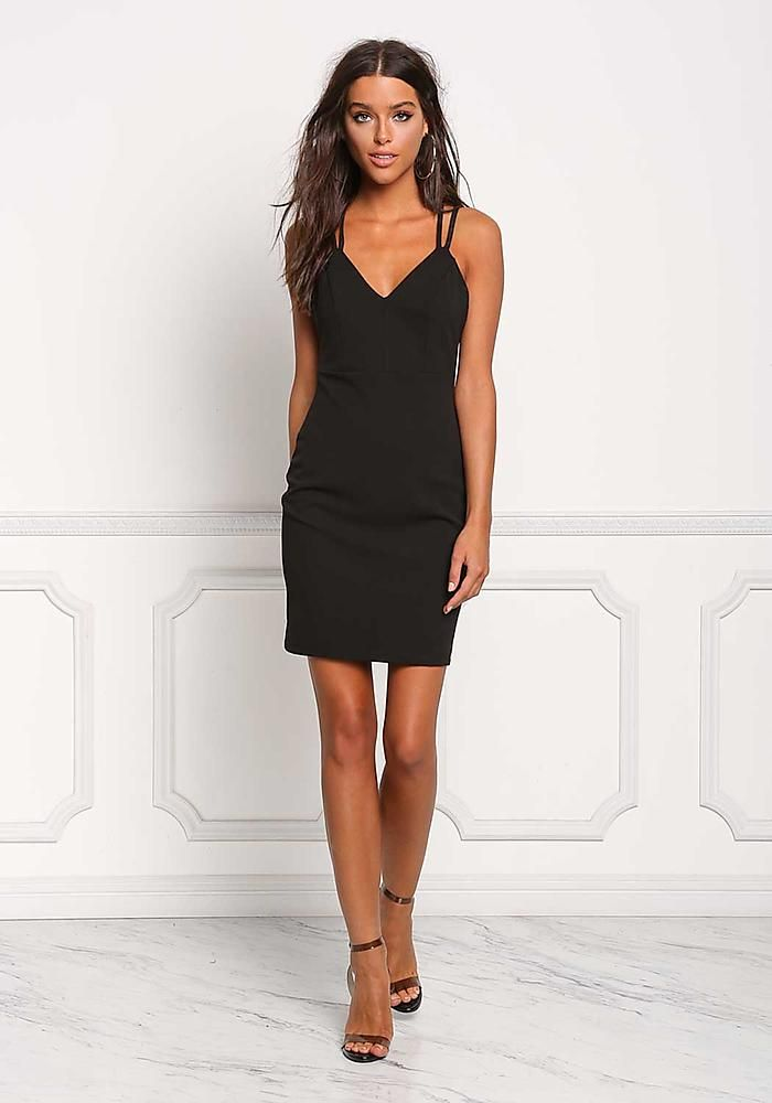 Black Double Strap Deep V Bodycon Dress Going Out Dresses My
