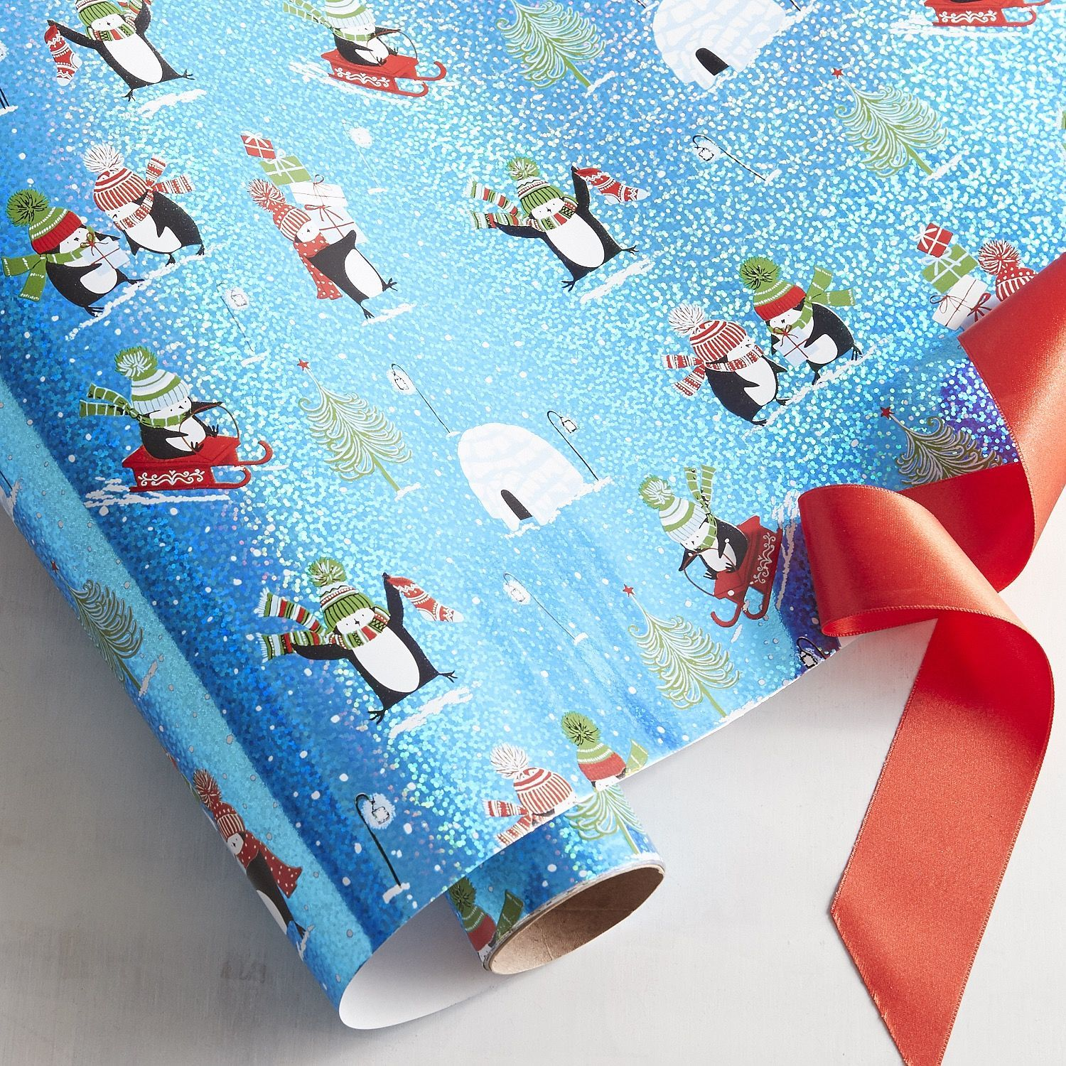 Penguin Holographic Gift Wrap Silver | Products | Pinterest ...