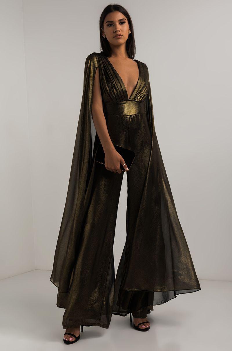 7f2a64f6dbaa AKIRA Black Label Plunging Neckline Exposed Back Long Slit Sleeve Metallic Wide  Leg Jumpsuit in Gold