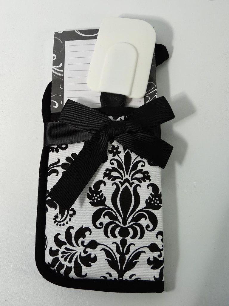 Pot Holder Spatula Note Pad Set by Brownlow Black White Print