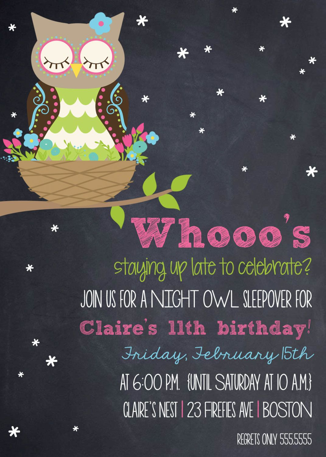 woodland night owl sleepover birthday invitation by theteacookie