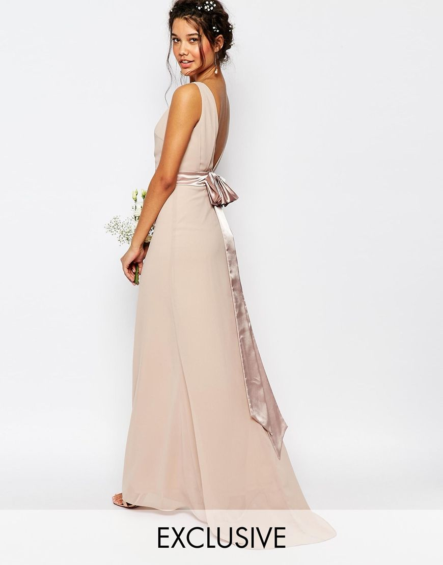 Trending Image of TFNC WEDDING Sateen Bow Back Maxi Dress