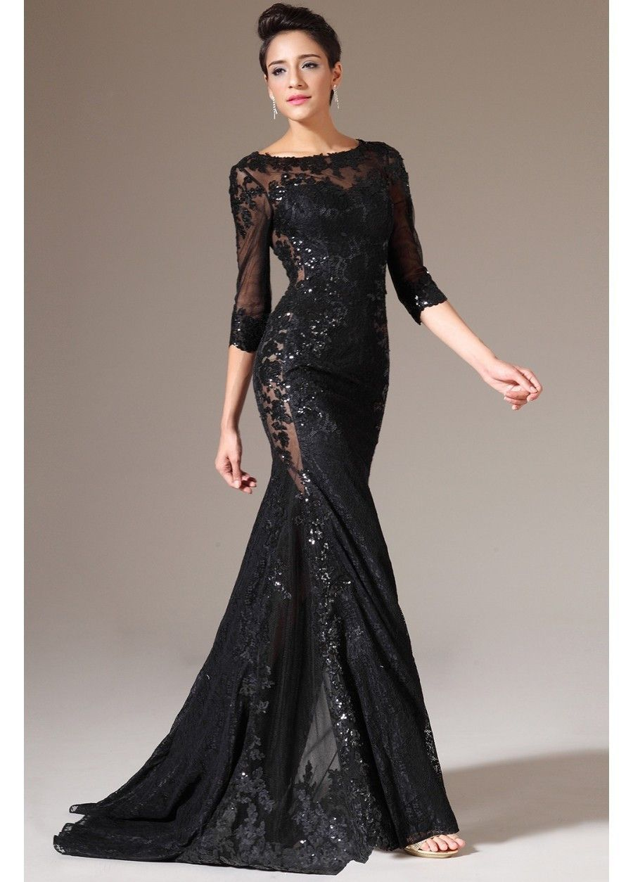 Three Quarter Sleeve Long Black Lace Evening Dress | Evening ...