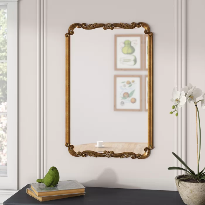Accent Modern Contemporary Accent Mirror In 2020 Gold Mirror Wall Gold Walls Mirror Interior Design