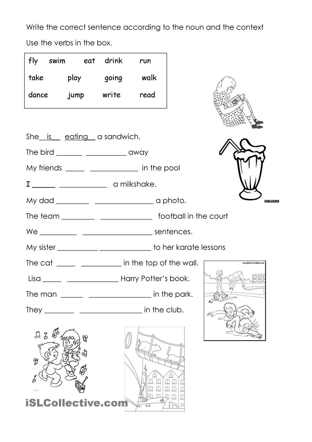 hight resolution of fill the gaps - present continuous   English grammar worksheets