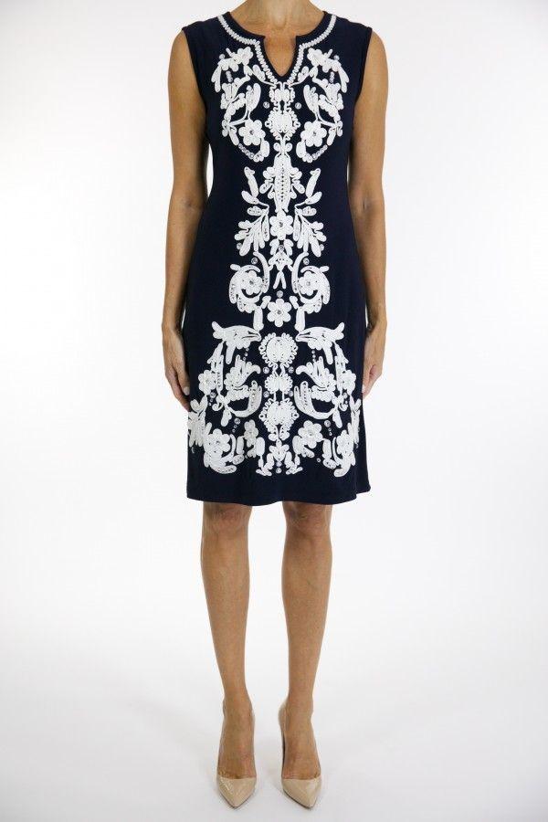 c3c73815b1aca4 Joseph Ribkoff Dress Navy White Style 163009