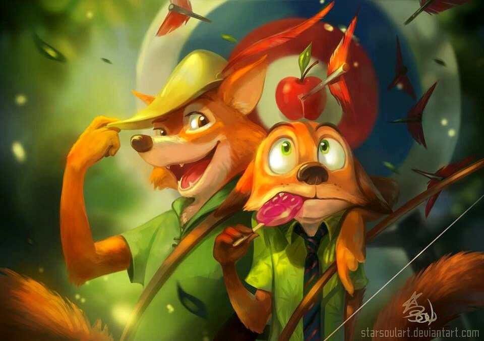 Robin Hood & Nick (Disney Meets Disney by StarSoul-Art @Facebook) #RobinHood #Zootopia