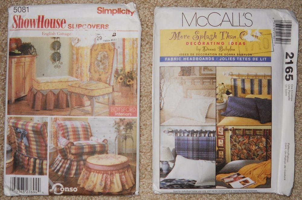 McCalls 2165 Pattern 5081 Headboards Slipcovers Ottoman Chair Fabric Lot 2 Uncut #McCall