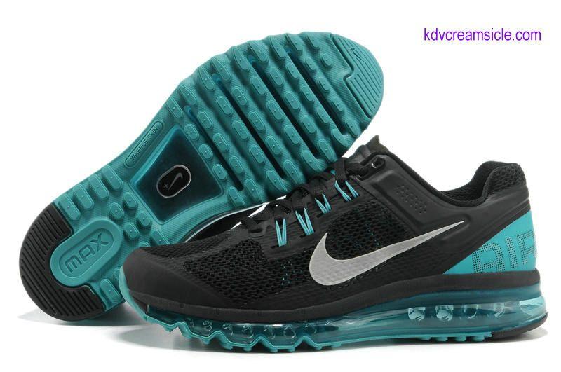 Nike 2013 Air Max Black Tiffany Blue Metallic Silver For