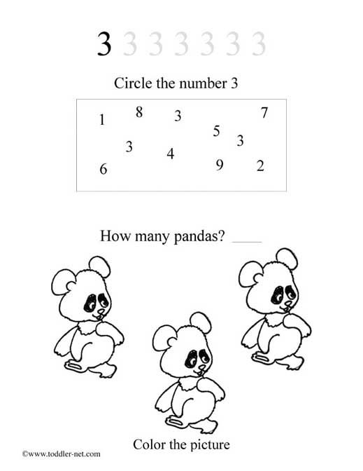 free printable number three worksheet for children to learn the numbers - Printable Activities For Toddlers Free