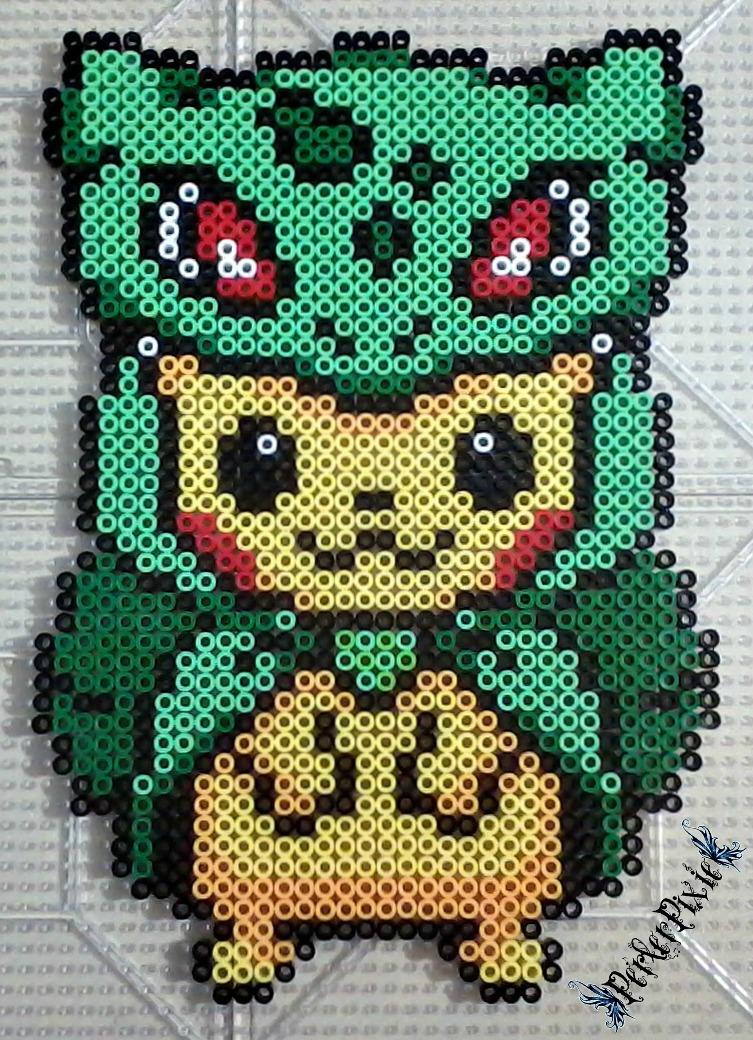 Pikachu In A Bulbasaur Hoodie By Perlerpixie On Deviantart Pokemon Bead Pearl Beads Pattern Pokemon Perler Beads