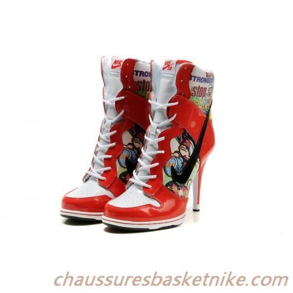 online store 7f088 cc8b3 Nike Dunk SB Talon Haut Femmes Chaussures rouge blanc noir
